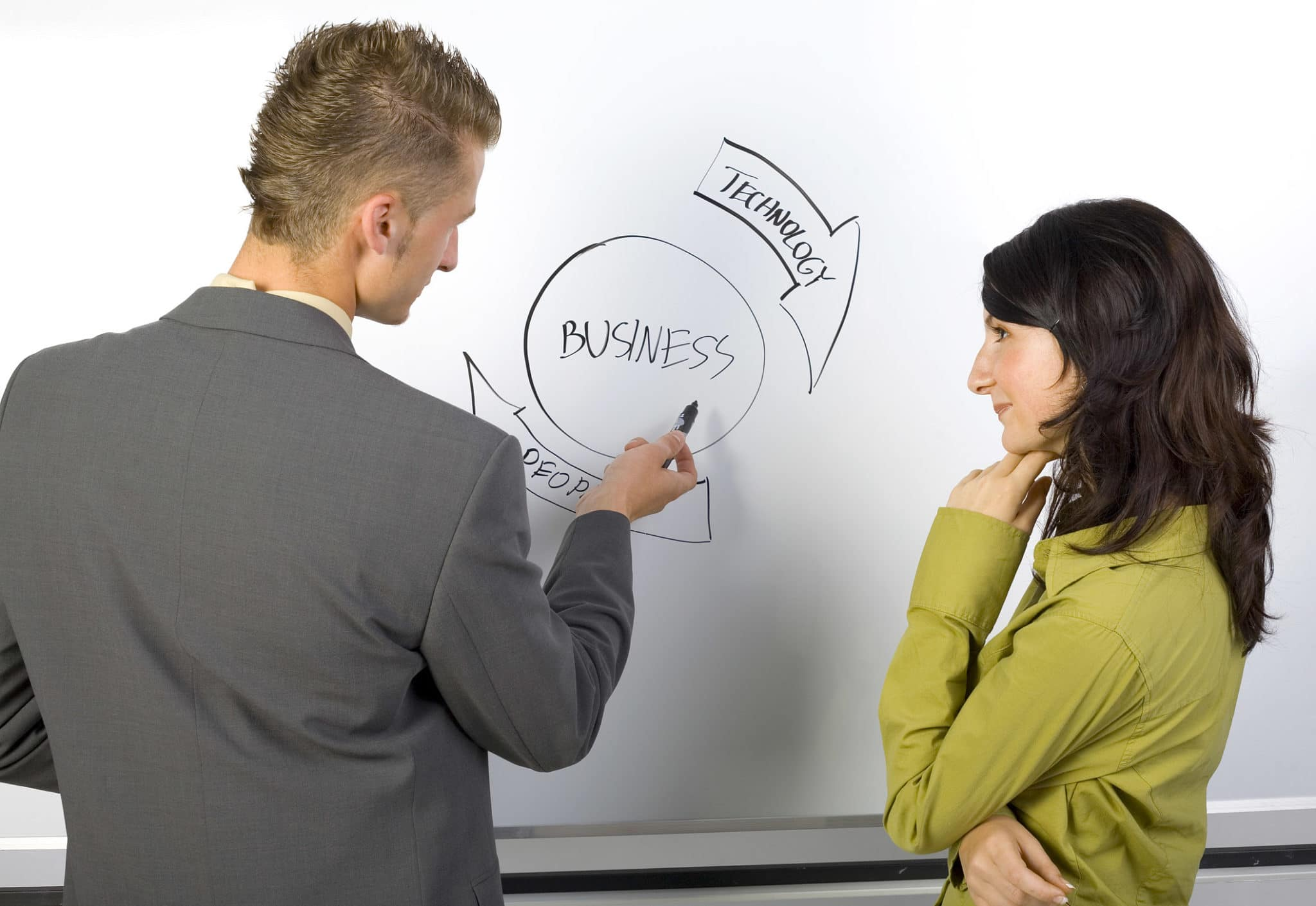 Businessman and businesswoman standing in front of the blackboard. Man is explaining something. Rear and side view. Gray background